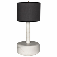 Noir Furniture White Marble Cylinder w/ Black
