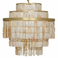 Noir Furniture Winoda Chandelier, Antique Brass, Metal