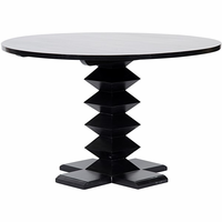"""Noir Furniture Zig-Zag Base Dining Table, 48"""", Hand Rubbed"""