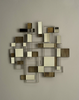 Nova Angles Brown Flame Treated Steel Wall Art Mirror