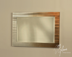 Nova Bronze Grid Wall Mirror in Bronze