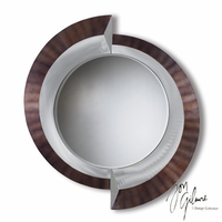 Nova Crescents Wall Mirror in Brushed Aluminum