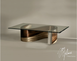 Nova Meandering Cocktail Table in Brushed Aluminum