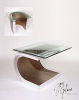 Nova Meandering End Table in Brushed Aluminum