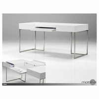 Oma Office Desk High Gloss White With Brushed Stainless Steel Base