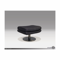 Pivot Swivel Ottoman Charcoal Fabric With Stainless Steel Base