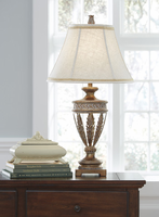 Ashley Express Furniture - Lavern - L512014 - Poly Table Lamp (2/CN), Gold Finish