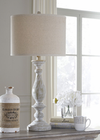Ashley Express Furniture - Bernadate - L235344 - Poly Table Lamp (2/CN), Whitewash