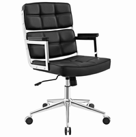 Portray Highback Upholstered Vinyl Office Chair, Black [FREE SHIPPING]