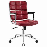 Portray Highback Upholstered Vinyl Office Chair, Red [FREE SHIPPING]