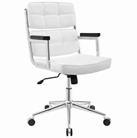 Portray Highback Upholstered Vinyl Office Chair, White [FREE SHIPPING]