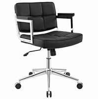 Portray Mid Back Upholstered Vinyl Office Chair, Black [FREE SHIPPING]