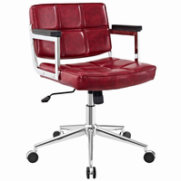 Portray Mid Back Upholstered Vinyl Office Chair, Red [FREE SHIPPING]
