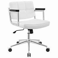 Portray Mid Back Upholstered Vinyl Office Chair, White [FREE SHIPPING]