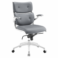 Push Mid Back Office Chair, Gray [FREE SHIPPING]