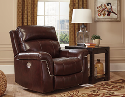 Ashley Furniture PWR Recliner/ADJ Headrest, Burgundy