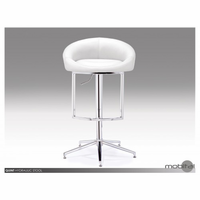 Quint Hydraulic Stool In White Leatherette