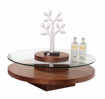 Beverly Hills Revere Circle Walnut Coffee Table