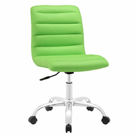 Ripple Armless Mid Back Vinyl Office Chair, Bright Green [FREE SHIPPING]