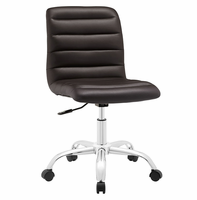 Ripple Armless Mid Back Vinyl Office Chair, Brown [FREE SHIPPING]