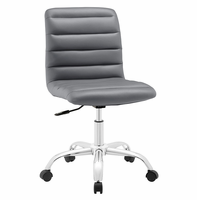 Ripple Armless Mid Back Vinyl Office Chair, Gray [FREE SHIPPING]