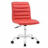 Ripple Armless Mid Back Vinyl Office Chair, Red [FREE SHIPPING]