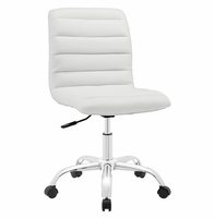 Ripple Armless Mid Back Vinyl Office Chair, White [FREE SHIPPING]