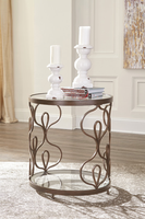 Ashley Express Furniture Round End Table, Bronze Finish