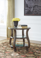 Ashley Express Furniture Round End Table, Dark Brown