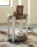 Ashley Express Furniture Round End Table, Grayish Brown/Silver