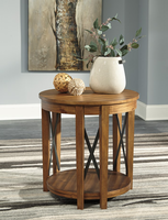 Ashley Express Furniture Round End Table, Light Brown