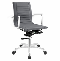 Runway Mid Back Fabric Office Chair, Gray [FREE SHIPPING]
