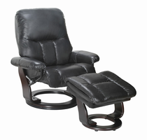 Sanford Semi-aniline/Vinyl Match, Ebony, Swivel Recliner Chair & Ottoman