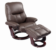 Sanford Semi-aniline/Vinyl Match, Kona Brown, Swivel Recliner Chair & Ottoman