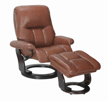 Sanford Semi-aniline/Vinyl Match, Llama, Swivel Recliner Chair & Ottoman