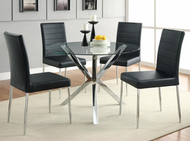 Set Chrome / Glass Dining Table  w/ Black Or White Chairs