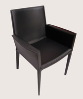 Soho Concept - Tiffany Black Leather Dining Arm Chair with Low Back