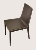 Soho Concept - Tiffany Black Leather Dining Chair  with Low Back