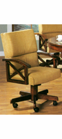 Solid Oak upholstered arm chair