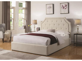 STORAGE QUEEN BED BEIGE FABRIC