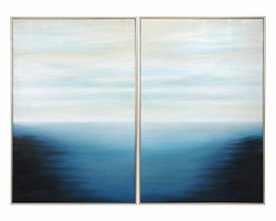 """Sunpan Below The Surface - 40"""" X 60"""" - Set Of 2 - Silver Floater Frame"""