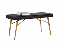 Sunpan Giana Desk - Brushed Brass - Smoked Grey