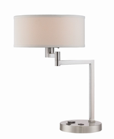 Swing Arm Table Lamp, Polished Steel/off-white, Outlet&usb Port, Cfl 13w