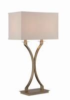 Table Lamp, Ab/off-white Fabric Shade, E27 Cfl 13wx2