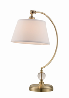 Table Lamp, Ab/white Fabric Shade, E27 Cfl 23w