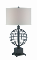 Table Lamp, Aged Black/white Fabric Shade, E27 Type Cfl 23w