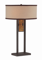 Table Lamp, Aged Bronze/mosaic/fabric Shade, E27 Cfl 13wx2
