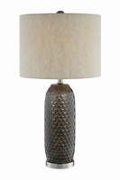 Table Lamp, Aged Brz Ceramic Body/linen Shade, E27 Type A 15
