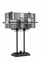 Table Lamp - Aged Gunmetal/tiffany Shade, E27 Type A 60wx2
