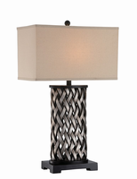 Table Lamp, Aged Silver/beige Linen Shade, E27 A 150w